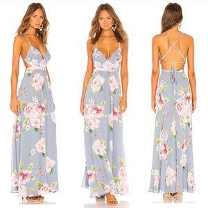 Revolve yumi Kim blue floral maxi dress size small